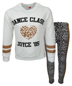 """Σετ εκρού μακρυμάνικη μπλούζα με κολάν """"Dance Class"""""""