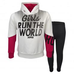 """Σετ εκρού μακρυμάνικη μπλούζα με κουκούλα και μαύρο κολάν χοντρό """"Runout"""""""