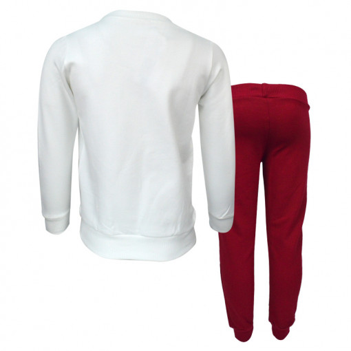 """Σετ εκρού μακρυμάνικη μπλούζα με κόκκινο κολάν """"Have Fun"""" πίσω μέρος"""