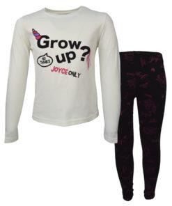 """Σετ εκρού μακρυμάνικη μπλούζα με μαύρο κολάν """"Grow Up"""""""