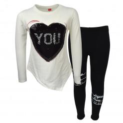 """Σετ εκρού μακρυμάνικη μπλούζα με μαύρο κολάν """"Heart Me"""" μαύρη"""