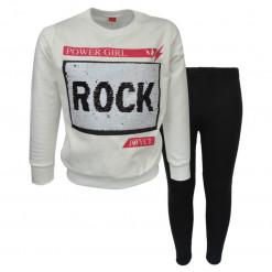 """Σετ εκρού μακρυμάνικη μπλούζα με μαύρο κολάν """"Rock"""""""