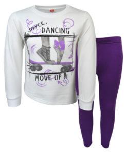 """Σετ εκρού μακρυμάνικη μπλούζα με μωβ κολάν """"Move Up"""""""