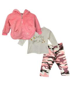 """Σετ εκρού μακρυμάνικη μπλούζα με ροζ γούνινη ζακέτα και κολάν """"Lovely Girl"""""""