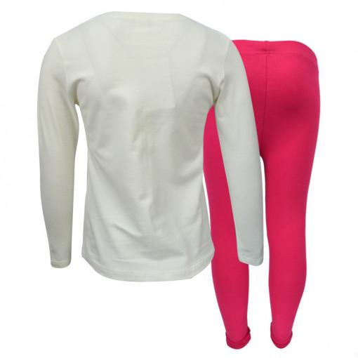 """Σετ εκρού μακρυμάνικη μπλούζα με φούξια κολάν """"Little Things"""" πίσω μέρος"""