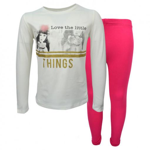"""Σετ εκρού μακρυμάνικη μπλούζα με φούξια κολάν """"Little Things"""""""