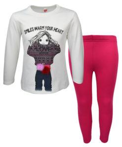 """Σετ εκρού μακρυμάνικη μπλούζα με φούξια κολάν """"Love Joye"""""""