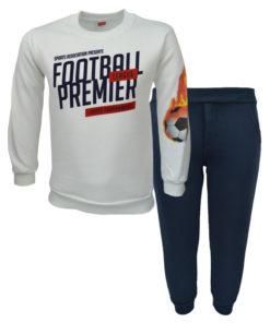 """Σετ εκρού μακρυμάνικη μπλούζα με φόρμα παντελόνι μπλε """"Football Premier"""""""