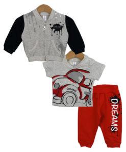 """Σετ ζακέτα γκρι και κοντομάνικη μπλούζα γκρι με φόρμα παντελόνι κόκκινο """"Dreams"""""""