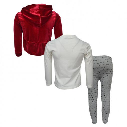 """Σετ ζακέτα κόκκινη βελουτέ με μπλούζα μακρυμάνικη λευκή και κολάν γκρι """"Κεραυνός"""" πίσω μέρος"""