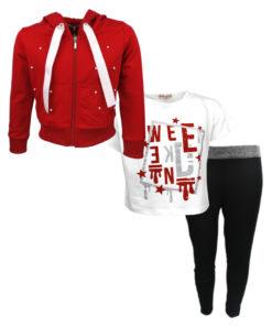 """Σετ ζακέτα κόκκινη με κοντομάνικη μπλούζα λευκή και κολάν μαύρο """"KJ"""""""