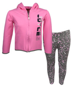"""Σετ ζακέτα ροζ με κουκούλα και κολάν γκρι """"Fun Spirit"""""""