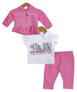 """Σετ ζακέτα ροζ με κουκούλα και κοντομάνικη λευκή μπλούζα με παντελόνι ροζ """"Παπούτσια"""""""