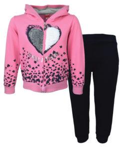 """Σετ ζακέτα ροζ με κουκούλα και φόρμα παντελόνι μαύρο """"Joyce Friends"""""""