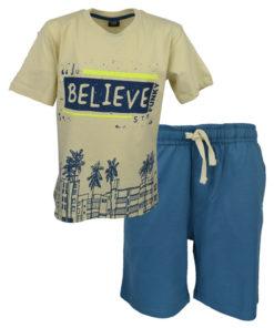 """Σετ κίτρινη κοντομάνικη μπλούζα με μπλε βερμούδα φόρμα """"Believe"""""""
