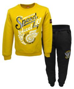 """Σετ κίτρινη μακρυμάνικη μπλούζα με μαύρη φόρμα παντελόνι """"Speed"""""""