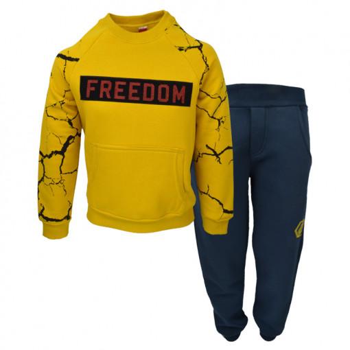 """Σετ κίτρινη μακρυμάνικη μπλούζα με μπλε φόρμα παντελόνι """"Freedom"""""""