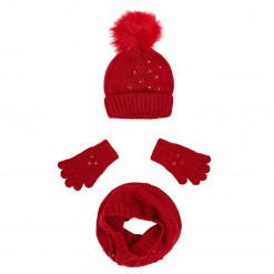 Σετ κασκόλ, γάντια και σκούφος κόκκινα με φουντάκι