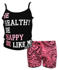 """Σετ κοντή μπλούζα με τιραντάκι μαύρη και πλάτη με δίχτυ και σορτσάκι φούξια """"Be Healthy Be Happy"""""""