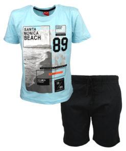 """Σετ κοντομάνικη μπλούζα γαλάζια με βερμούδα μαύρη """"Santa Monica Beach"""""""