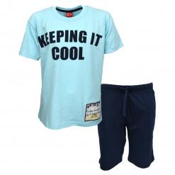 """Σετ κοντομάνικη μπλούζα γαλάζια με βερμούδα μπλε """"Keeping it Cool"""""""