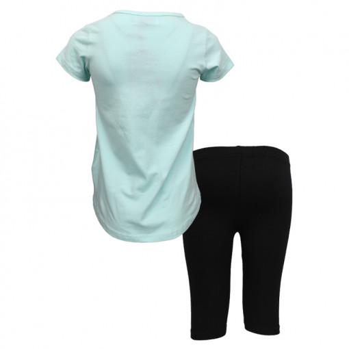 """Σετ κοντομάνικη μπλούζα γαλάζια με κολάν ποδηλατικό μαύρο """"Δελφίνι"""" πίσω μέρος"""