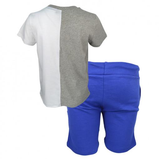 """Σετ κοντομάνικη μπλούζα γκρι και βερμούδα μπλε """"California"""" πίσω μέρος"""
