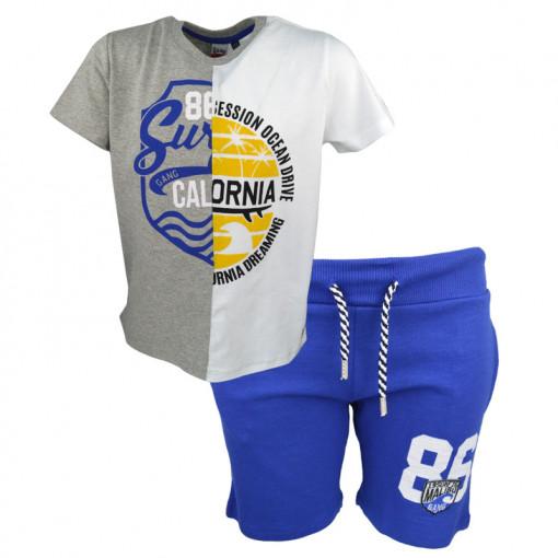 """Σετ κοντομάνικη μπλούζα γκρι και βερμούδα μπλε """"California"""""""
