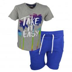 """Σετ κοντομάνικη μπλούζα γκρι και βερμούδα μπλε """"Take It Easy"""""""