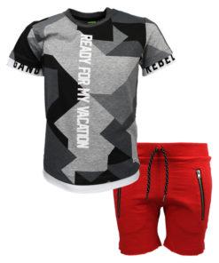 """Σετ κοντομάνικη μπλούζα γκρι με βερμούδα κόκκινη """"Ready For My Vacation"""""""