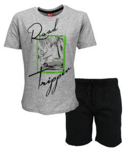 """Σετ κοντομάνικη μπλούζα γκρι με βερμούδα μαύρη """"Road"""""""