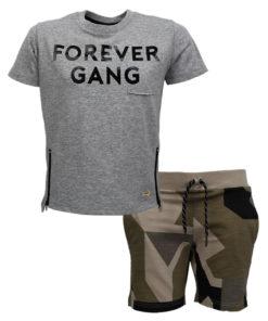 """Σετ κοντομάνικη μπλούζα γκρι με βερμούδα χακί """"Forever Gang"""""""