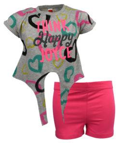 """Σετ κοντομάνικη μπλούζα γκρι με σορτάκι φούξια """"Think Happy"""""""