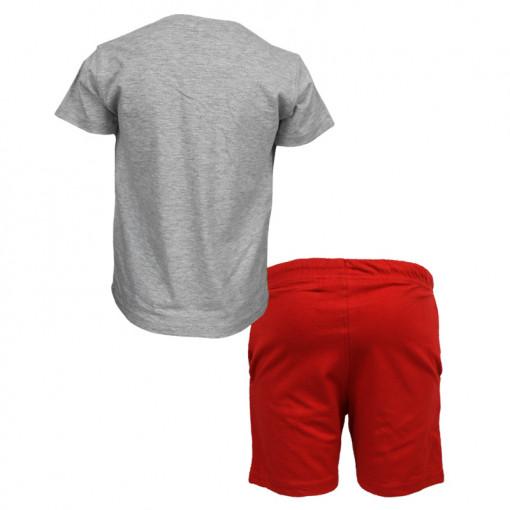 """Σετ κοντομάνικη μπλούζα γκρι με φόρμα βερμούδα κόκκινη """"Feel Cool"""" πίσω μέρος"""