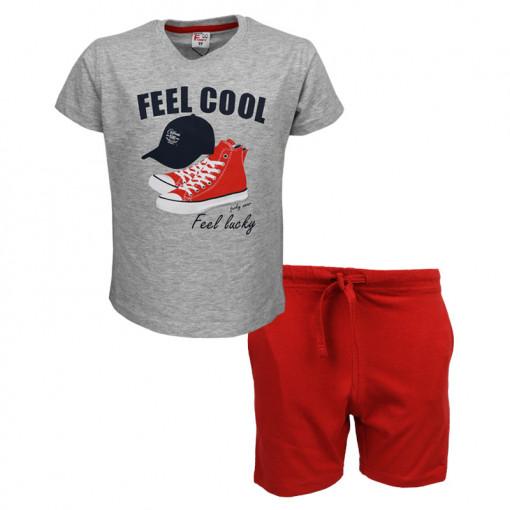 """Σετ κοντομάνικη μπλούζα γκρι με φόρμα βερμούδα κόκκινη """"Feel Cool"""""""