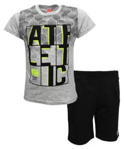 """Σετ κοντομάνικη μπλούζα γκρι με φόρμα βερμούδα μαύρη """"Athletic"""""""