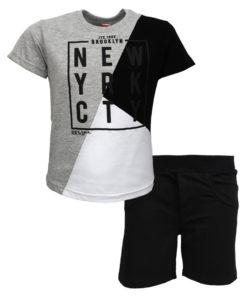 """Σετ κοντομάνικη μπλούζα γκρι με φόρμα βερμούδα μαύρη """"New YRK CTY"""""""