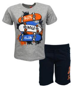 """Σετ κοντομάνικη μπλούζα γκρι με φόρμα βερμούδα μπλε """"Skateboards"""""""