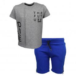 """Σετ κοντομάνικη μπλούζα γκρι με φόρμα βερμούδα μπλε """"The Future"""""""
