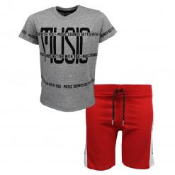 """Σετ κοντομάνικη μπλούζα γκρι με φόρμα σορτσάκι κόκκινη """"Music"""""""