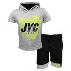 """Σετ κοντομάνικη μπλούζα γκρι με φόρμα σορτσάκι μαύρο """"JYC"""""""
