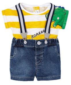 d063a2865fc Σετ κοντομάνικη μπλούζα κίτρινη και τζιν σορτσάκι με τιράντες