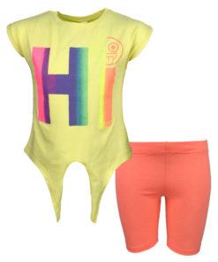 """Σετ κοντομάνικη μπλούζα κίτρινη με κολάν κάπρι σομόν """"Hi"""""""
