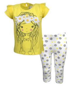 """Σετ κοντομάνικη μπλούζα κίτρινη με κολάν λευκό """"Κοριτσάκι με Λουλούδια"""""""