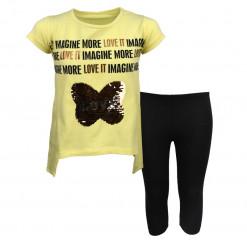 """Σετ κοντομάνικη μπλούζα κίτρινη με κολάν μαύρο """"Imagine More"""""""