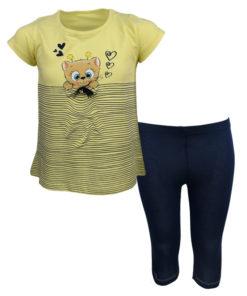 """Σετ κοντομάνικη μπλούζα κίτρινη με κολάν μπλε """"Γατάκι"""""""