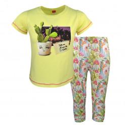 """Σετ κοντομάνικη μπλούζα κίτρινη με πράσινο κολάν """"Cactus"""""""