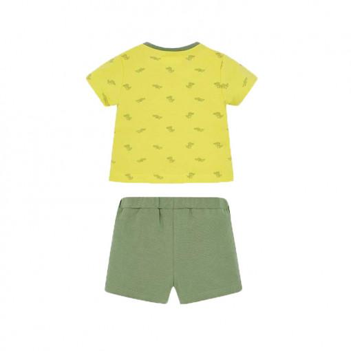"""Σετ κοντομάνικη μπλούζα κίτρινη με σορτσάκι πράσινο """"Παπούτσια"""" πίσω μέρος"""