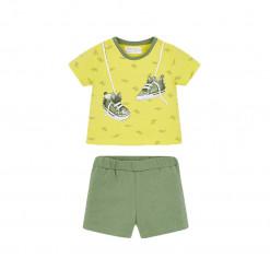 """Σετ κοντομάνικη μπλούζα κίτρινη με σορτσάκι πράσινο """"Παπούτσια"""""""