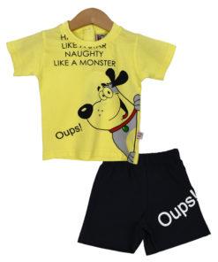 """Σετ κοντομάνικη μπλούζα κίτρινη με φόρμα βερμούδα μαύρη """"Oups!"""""""